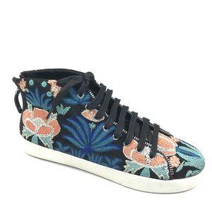 REBECCA MINKOFF Zaina Embroidered Sneaker 8 Black